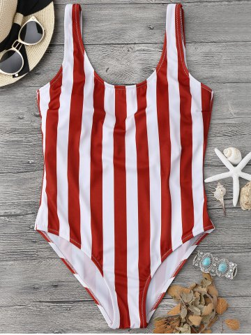 Fashion Shaping Striped One Piece Swimsuit - L RED WITH WHITE Mobile