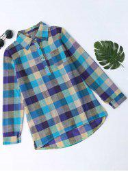 Plaid Side Slit Longline Blouse