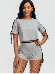 Raglan Sleeve Lace Up Top et Shorts - Gris