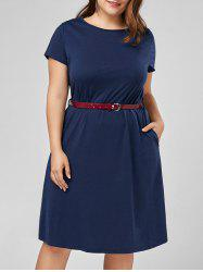 Plus Size Knee Length A Line Dress with Belt