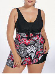 Floral Padded High Waisted Plus Size Skirted Swimsuit