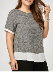 Marled Two Tone Plus Size Blouse