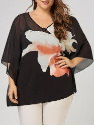 Plus Size Floral Pattern V Neck Batwing Sleeve  Tunic Top - Black - 5xl