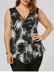 Plus Size Twist Front Slim Tank Top - White And Black - 3xl