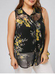 Plus Size Floral Sleeveless Shirt