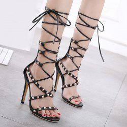 Rivet Tie Leg Stiletto Heel Sandals