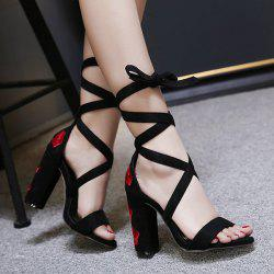 Tie Up Embroidery Block Heel Sandals