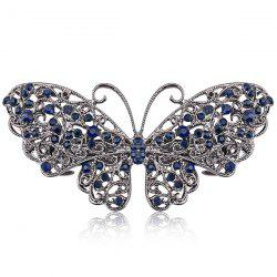 Alloy Hollow Out Butterfly Faux Sapphire Barrette - Bleu