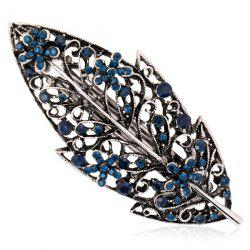 Hollow Out Leaf Retro Faux Sapphire Barrette - Bleu