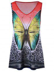 Leopard with Butterfly V Neck Sleeveless T-shirt