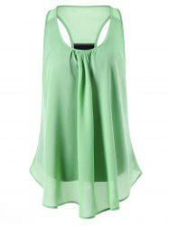 Sleeveless U Neck Back Slit Blouse - APPLE GREEN