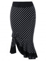 Bowknot Decorated Polka Dot Mermaid Skirt - BLACK