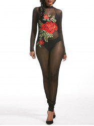 Sheer Flower Embroidered Mesh Jumpsuit