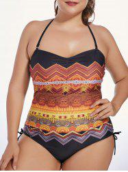 Tribal Print Padded One Piece Plus Size Swimsuit