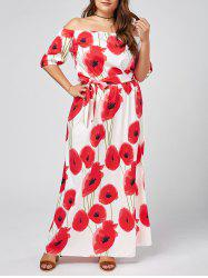Plus Size Floral Maxi Off The Shoulder  Dress