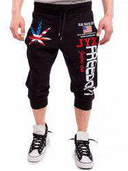 Leaf Patriotic Graphic Print Drawstring Cropped Joggers