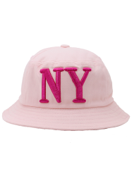 Round Top Bucket Hat with Letters Embroidery - PINK