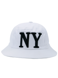 Round Top Bucket Hat with Letters Embroidery - WHITE