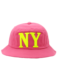 Round Top Bucket Hat with Letters Embroidery -