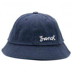 Round Top Letters Embroidered Bucket Hat - PURPLISH BLUE