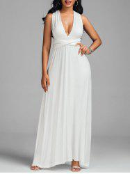 Convertible Floor Length Sleeveless Formal Dress - WHITE