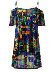 Tie Dye High Low Plus Size Mini Dress