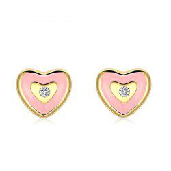Rhinestone Cute Heart Stud Earrings