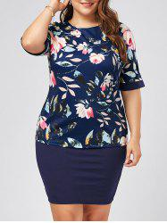 Plus Size Floral Top and Knee Length Sheath Skirt