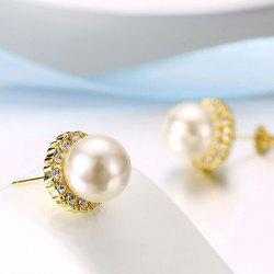 Rhinestone Faux Pearl Tiny Stud Earrings