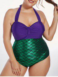 Plus Size Halter Fish Scale One Piece Swimsuit