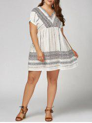 V Neck Smock Plus  Size Bohemian Dress