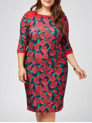 Plus Size Printed Floral Bodycon Dress with Sleeves -