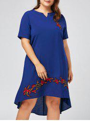 Notched Floral Embroidered Plus Size High Low Dress