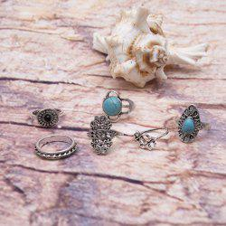 Faux Turquoise Vintage Oval Ring Set