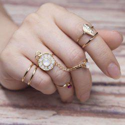 Rhinestone Slave Leaf Finger Ring Set