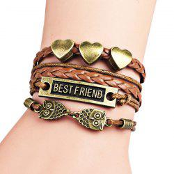Heart Best Friend Owl Braid Bracelet - COFFEE