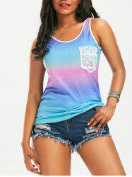 Front Lace Pocket Ombre Tank Top
