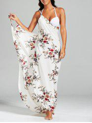 Sarong Chiffon Floral Convertible Wrap Cover Up Dress - Blanc