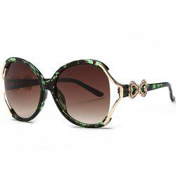 Two Tone Wide Tiny Bowkont Embellished Sunglasses - GREEN