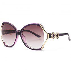 Two Tone Wide Tiny Bowkont Embellished Sunglasses - PURPLE