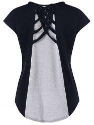 Cap Sleeve Criss Cross High Low T-shirt