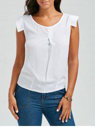 Brief Scoop Neck White Sleeveless Chiffon Blouse For Women