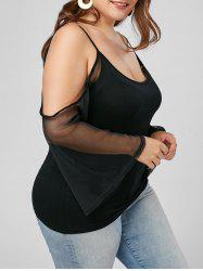 Plus Size Mesh Trim Cold Shoulder Top