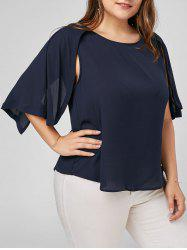 Plus Size Split Sleeve Chiffon Top