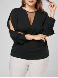 Split Long Sleeve Plus Size Mesh Trim Top