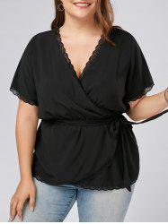 Open Back Plus Size Lace Trim Top