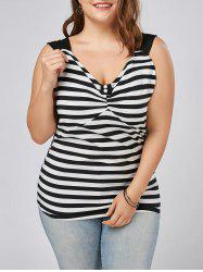Plus Size Sleeveless Striped Top