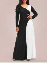 Two Tone Maxi Long Sleeve Casual Dress