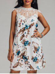 Crochet Trim Crew Neck Floral Dress