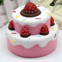 Simulation Double Deck Strawberry Cake Toy Squishy Food - PINK
